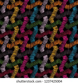 traditional folk fashionable embroidery stitch on a black background. Pattern, seamless texture, vector illustration