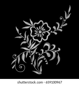 Traditional folk fashionable stylish floral embroidery stitch on a black background. White lace. Sketch for printing on clothing, fabric, design. vector