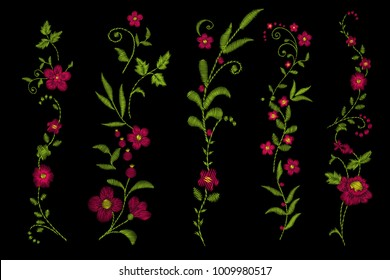 Traditional folk flower fashionable embroidery on the black background. A bouquet of roses and a dog rose, for printing on clothes, vector