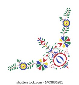 Traditional folk ornament, the Moravian ornament, floral embroidery symbol isolated on white background, vector illustration
