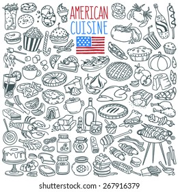 Traditional food and drinks of American cuisine. Main and side dishes, desserts, bakery, beverages . Freehand vector doodles collection isolated on white background