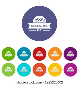 Traditional food icons color set vector for any web design on white background