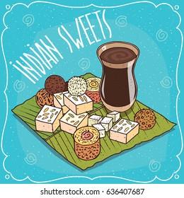 Traditional food, popular sweets of Indian cuisine, balls Laddu or Laddoo and rectangular Barfi or Burfi, on banana leaf and masala chai tea. Hand drawn comic style. Vector illustration