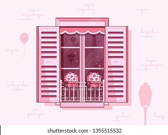 Traditional french window with shutters, flowers in pots, curtains and Paris scene reflected in glass. Illustration with parisian symbols like french balcony, vintage air balloons and Eiffel tower.