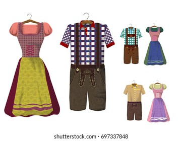 Traditional German (Bavarian) clothing: Lederhosen and Dirdle. Octoberfest. Greeting card from Munich. Collection of dresses
