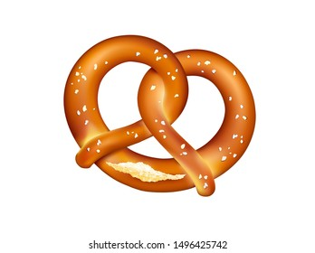 Traditional german pretzel with salt,  Bavarian food,  Vector illustration isolated on white background.