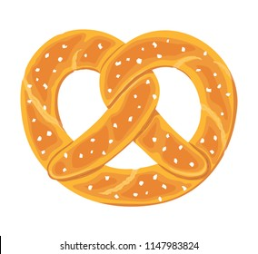 Traditional german salty pretzel. Twisted bread with salt. Typical Oktoberfest food. Vector hand drawn illustration.