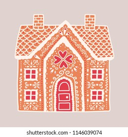 Traditional gingerbread house isolated on light background. Delicious baked product shaped like two-storey residential building and decorated with icing. Flat cartoon colorful vector illustration