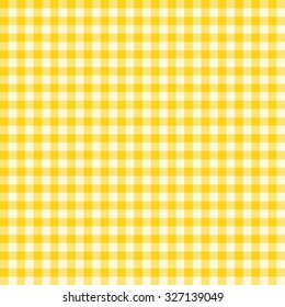 Traditional Gingham pattern in yellow color. Seamless checkered vector pattern. Abstract geometric background.