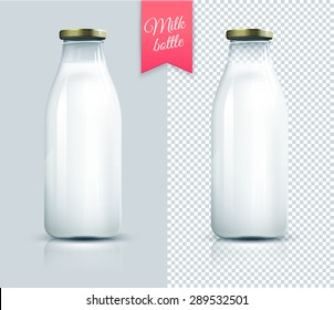 Traditional glass bottle with milk isolated on grey and transparent background.