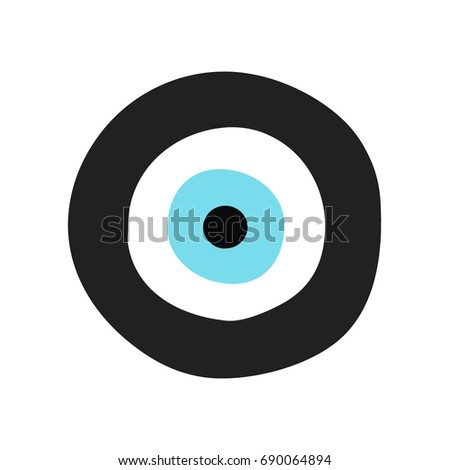 Traditional Greek Evil Eye Black Turquoise Stock Vector Royalty
