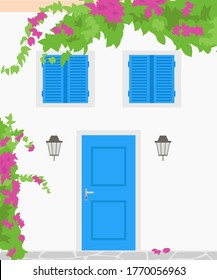 Traditional greek house with blooming flowers. Tourism concept. Vector illustration.