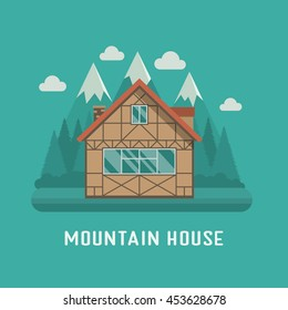 Traditional half-timbered cottage at national park area. Mountain chalet building. Family summer house poster. Living or rental country home on mountains landscape. Wooden hut dwelling for booking.