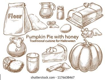 Traditional Halloween Food ingredients. Pumpkin pie with honey