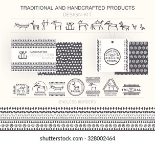 Traditional and handcrafted products design kit with tribal badges, logo templates and endless borders. Monochrome. Hand drawn ethnic style (European cave painting)