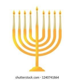 Traditional Hanukkah candelabrum, Chanukiah, menorah