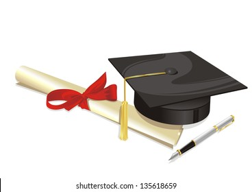 traditional hat with parchment university diploma and fountain pen