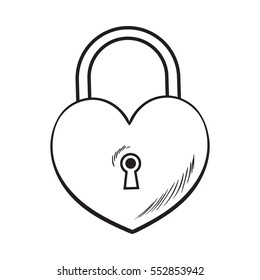 Traditional heart shaped padlock for love lock unity ceremony, sketch style illustration isolated on white background. Realistic hand drawing of shiny ock, padlock for wedding ceremony