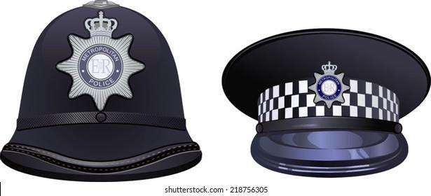 A traditional helmet of metropolitan British police officers