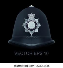 Traditional helmet of metropolitan British police officers - Bac