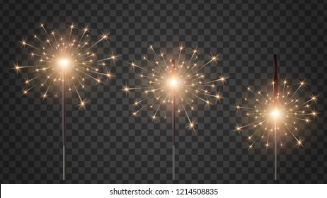 Traditional Holiday Bengal Light.  light effect bright sparkle burning. Bengal candles at different stages of burning. Christmas sparkler lights, diwali firework candle. Realistic vector set.