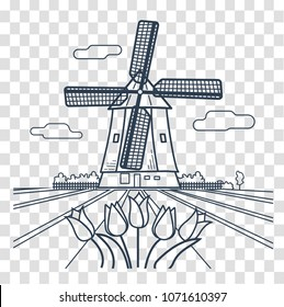 traditional Holland dutch scenery with one typical windmill and tulips, Netherlands countryside. Icon, silhouette in the linear style
