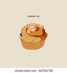 Traditional homemade rasin cinnamon rolls , sketch vector.