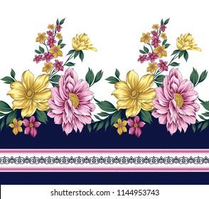 traditional horizontal  flower border