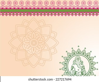 Traditional horizontal Indian Ganesha elephant henna background with space for text