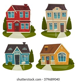 Traditional house cottage buildings set / real estate / exterior facade / cartoon vector illustration