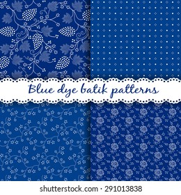 Traditional Hungarian seamless folk patterns set for blue dye textiles, printed batik. Iindigo dye textiles were very popular in Hungary from the 18th century. Pattern swatches included in EPS file.