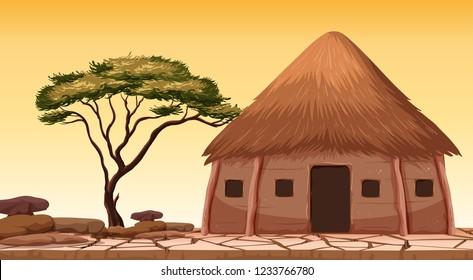 A traditional hut at desert illustration