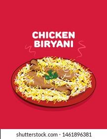 Traditional indian cuisine chicken biryani vector.