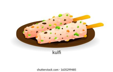 Traditional indian dish kulfi. Frozen milk dessert originated, often called traditional Indian ice cream. India dishes menu restaurant breakfast and dinner cartoon vector illustration