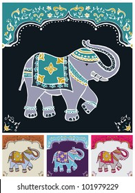 Traditional indian elephant decorated for special occasion background set. Vector file available.