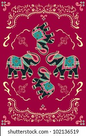 Traditional indian elephant decorated for special occasion background. Vector file available.