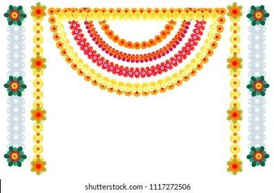 Traditional Indian flower garlands decoration for holiday. Isolated on white vector illustration