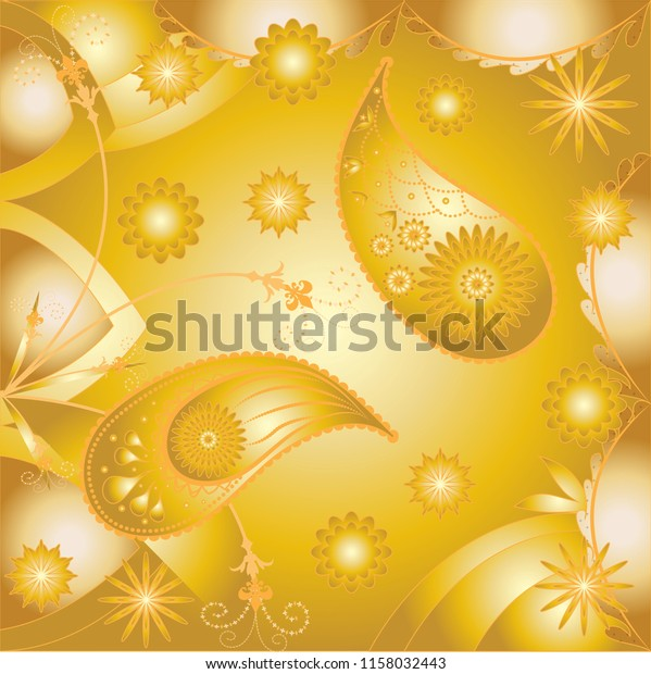 Traditional Indian Paisley Floral Art Design Stock Vector