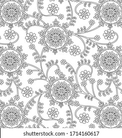 traditional indian paisley pattern on  outline background