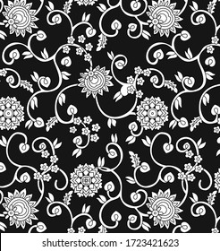 traditional indian paisley pattern on  black background