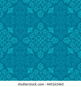 Traditional Indian pattern with round floral elements in shades of blue. Oriental decorative motifs. Vector seamless repeat.