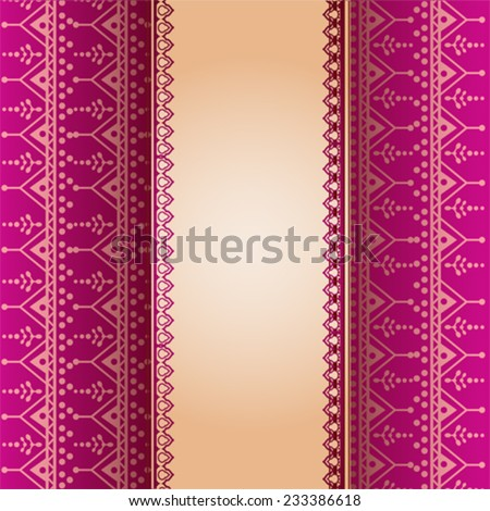 Traditional Indian Pink Henna Design Wallpaper Stock Vector Royalty