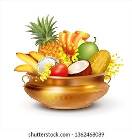 Traditional Indian pot (uruli) with fruits, mirror, textile and konna flowers (cassia fistula) - attribute for South Indian New Year festival Vishu (Vishukani). Vector illustration.