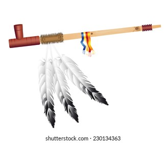 Traditional Indian smoking pipe of peace on a white background