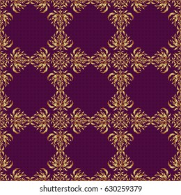 Traditional indian style, ornamental floral elements for henna tattoo, printing, golden stickers, mehndi, yoga design. Vector art of golden mehndi. Seamless pattern on a purple backdrop.