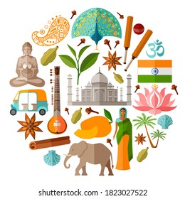 Traditional Indian symbols in a flat style. India vector attractions and landmarks isolated on white. Set of icons on the tourist theme.