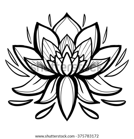 Traditional Indian Symbols Lotus Flower Element Stock Vector
