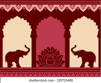 Traditional Indian temple design with lotus and elephants