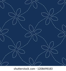Traditional Indigo Blue Japanese Needlework Seamless Vector Pattern. Sashiko Style Hand Stitch Line Texture for Textile Prints, Classic Japan Decor, Asian  Backdrop or Simple Kimono Quilting Template.