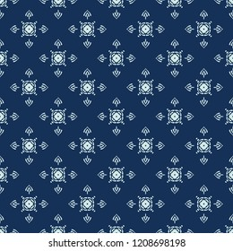 Traditional Indigo Blue Japanese Seamless Vector Pattern. Quilting Fabric Style Hand Drawn Motif Texture for Textile Prints, Classic Japan Decor, Asian Backdrops or Simple Understated Gift Wrapping